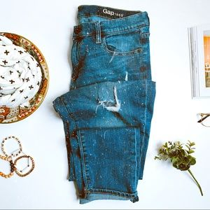 GAP distressed girlfriend jeans TALL length